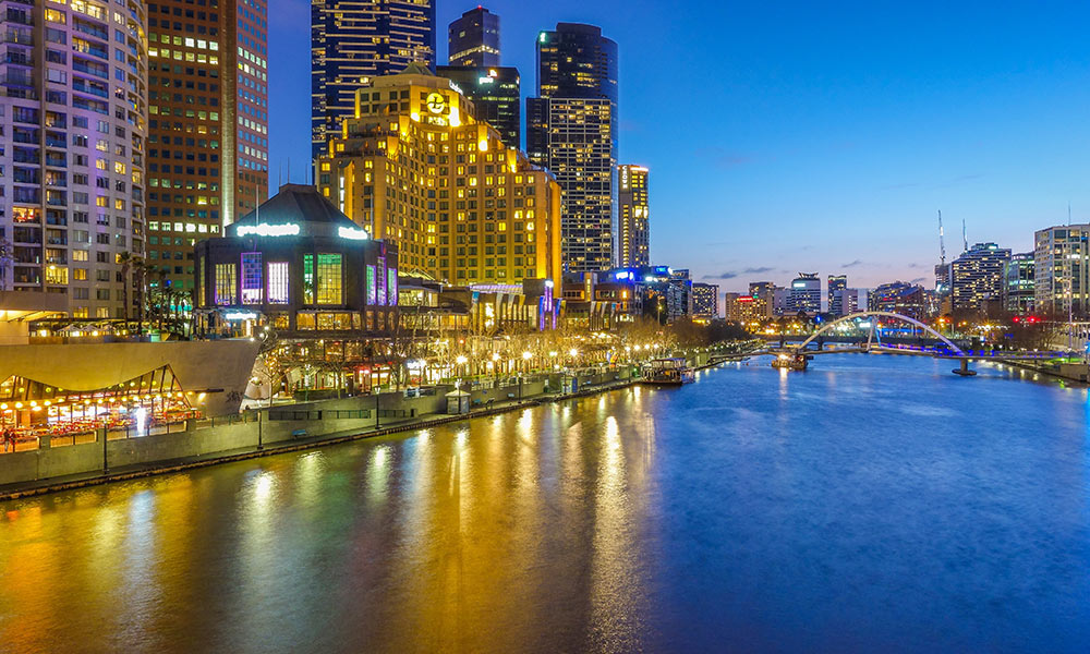 Melbourne éjszakai látkép