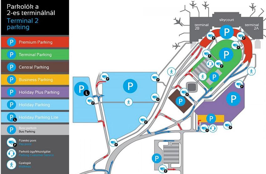 Térkép a 2-es terminál mellett elhelyezkedő repülőtéri parkolókról